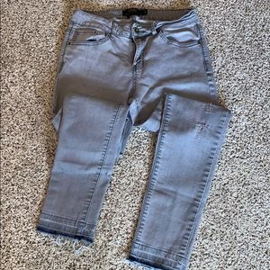 L&B gray mid rise skinny. Blue at ankle